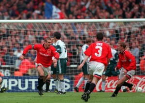 Football. 1996 FA Cup Final. Wembley. 11th May, 1996. Manchester United 1 v Liverpool 0. Manchester United captain Eric Cantona races away to celebrate after scoring the game's only goal.
